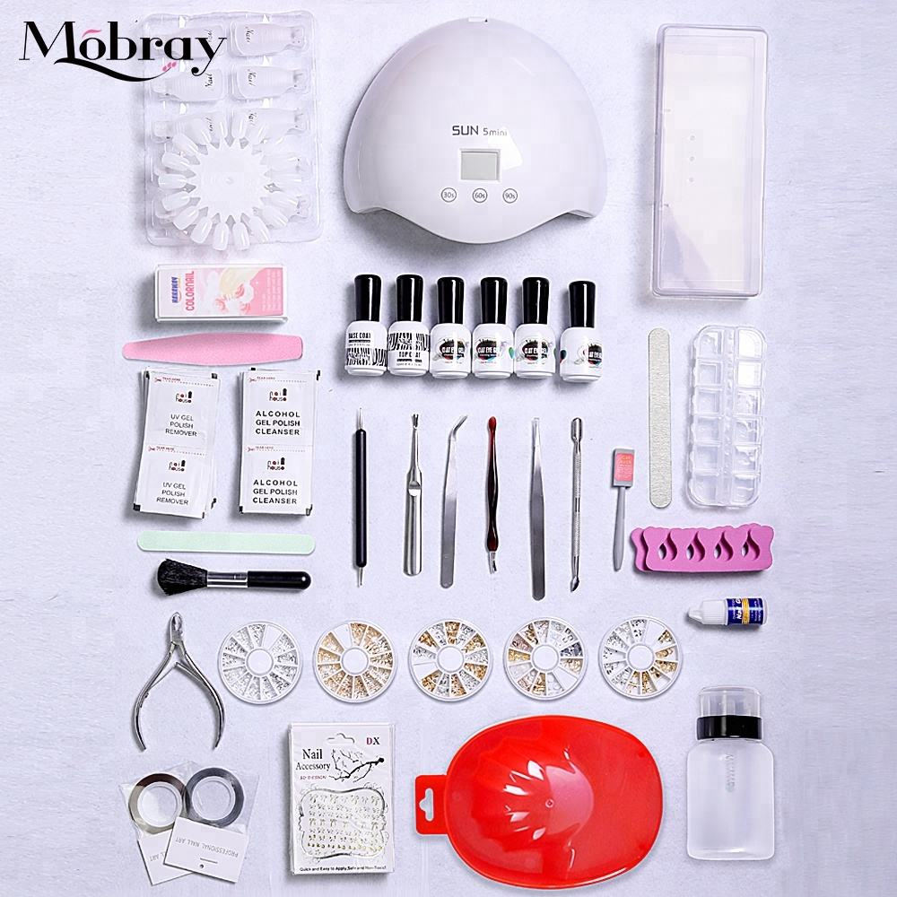 Mobray Nail Art Manicure Set SUN 24w UV Gel Nail Lamp Kit with base top color gel nail file buffer