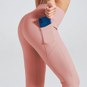 Athletic Sportswear Recycled Polyester Moisture Wicking Butt Lift Yoga Pants Pockets Fitness Leggings