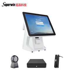 Window pos pc desktop receipt thermal pos printer card reader cash drawer barcode scanner J1900/4G/64G cashier