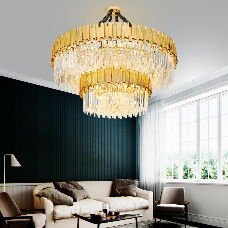 Large Size Double Layer Gold k9 Cristal Crystal Chandelier Lamp for Hotel Foyer Lobby