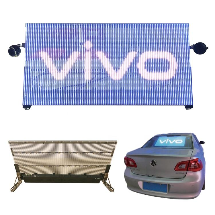 Taxi/car rear window led display advertising Indoor transparent led display screen