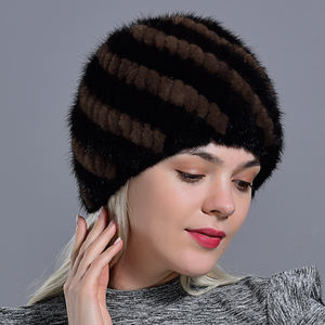 winter womens mink fur hats knitted fashionable fluffy ladies genuine fur beanie female black fur winter hats beanie for wo men
