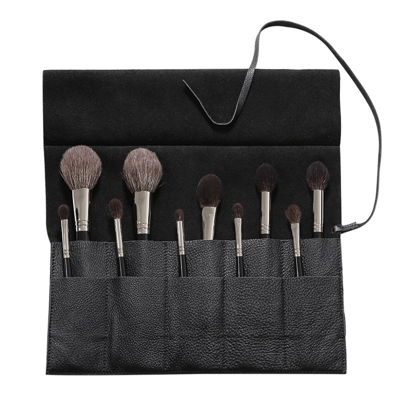 Draagbare Zwarte <span class=keywords><strong>Pu</strong></span> Leather Make Up Brush Houder, <span class=keywords><strong>Cosmetische</strong></span> Make-Up Kwasten Roll Bag Pouch, Professionele Make Make-Up Borstel