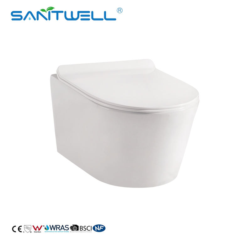 European rimless wall hung toilet p-trap ceramic wall mounted toilet pans toilet closet From Chaozhou factory with matched bidet