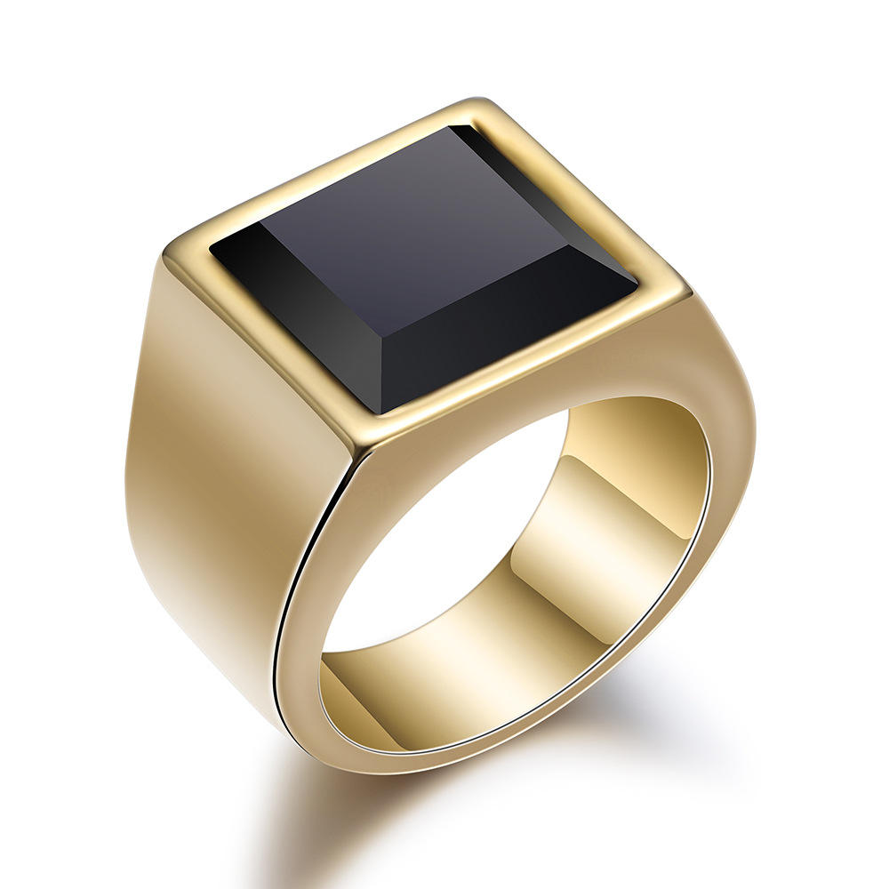Men Wedding Present Pinky Stainless Steel Black Onyx Signet Ring Real 18k Gold Plated Square Black Stone Signet Ring