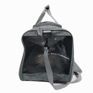 Portable recycled smell proof zipper dog cat out carrier travel tote pet bag