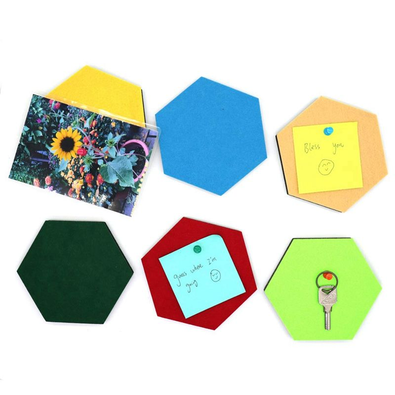 6 Pack Felt Hexagon Pin Board Self Adhesive Bulletin Memo Photo Cork Boards Colorful Foam Wall Decorative Tiles