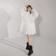 Dress Women Shirt Dresses Women Casual L1916004 2020 Spring Elegant Korean Casual White Cotton Lantern Long Sleeve Pleated Shirt Dress Women