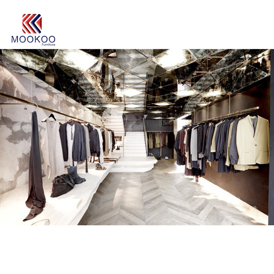 Clothing fashion Shop design Unisex Clothing Shop Decoration From CHINA MOOKOO FURNITURE CO.,LTD