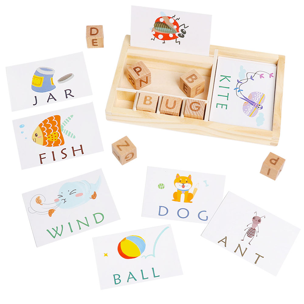 Preschool intelligence wooden alphabet blocks matching english letters spell english word game for girls boy gifts