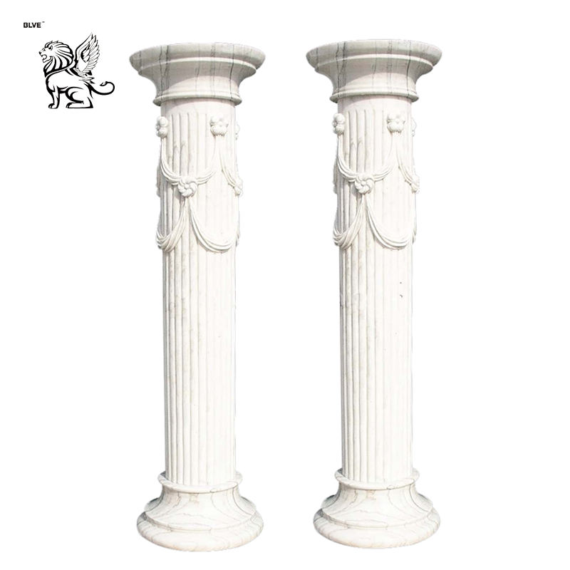 Decorative House Pillar Natural Stone Garden Round Marble Column