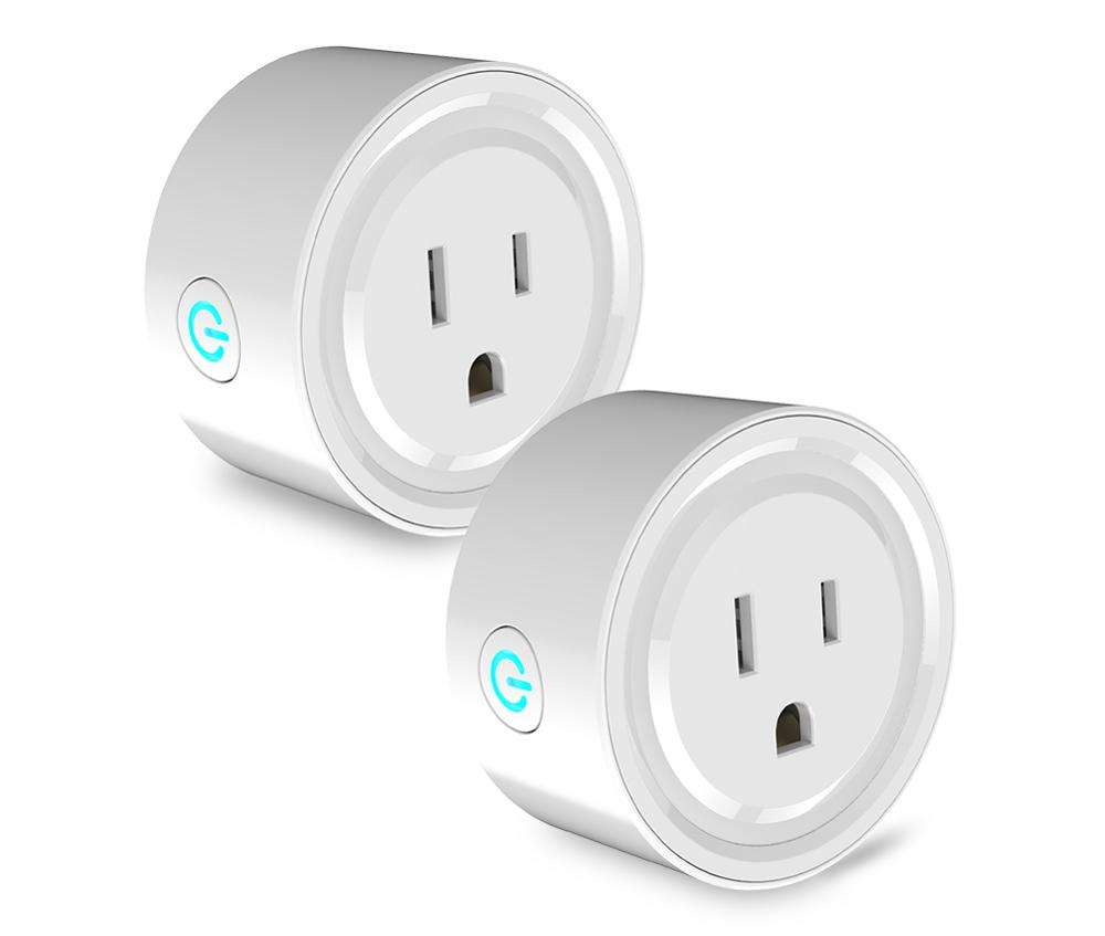 Wholesale OEM Amazon Hot Seller Free Logo Print 10A 2Units US EU UK Alexa Wireless Wall Smart Wifi Plug Outlet With ETL CE Rohs