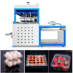thermoforming machine to make disposable plastic tray with lid