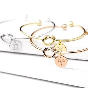 Open Unique initial Zodiac sign gold wire bracelet initial knot pendant bracelet for women bracelets bangle jewelry