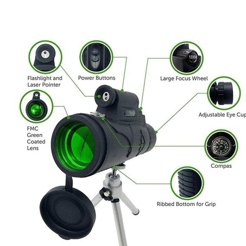 12x50 Non-Slip Design Hunting Powerful Monocular Telescopes with laser and light adapt to tripod clip