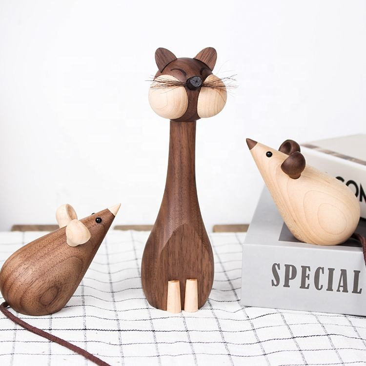 Creative Wooden Cat and Mouse Figurines toy Lovely wooden animals solid wood doll Ornaments For Home Decoration new year's gift
