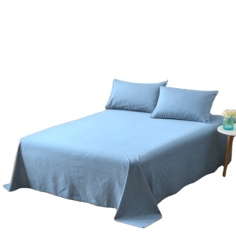 European style solid color 100% wash cotton flat bed sheets