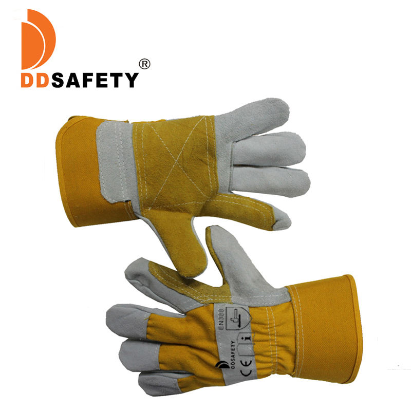 "Cheap short 10.5"" custom logo designed heavy duty cow split double palm leather safety work hand protect gloves price men"