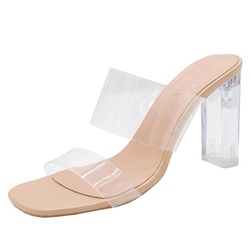 PDEP china factory direct PVC upper material elegant sandals for ladies transparent high heels women dress shoes