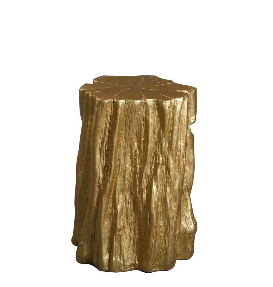 Mayco Accent Furniture Tree Trunk Naturalist Elegant Gold Silver Tree Stump Accent Coffee Side Table