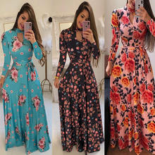 Woman Casual Long Sleeve Dresses Printed Summer Plus Size Dress Women