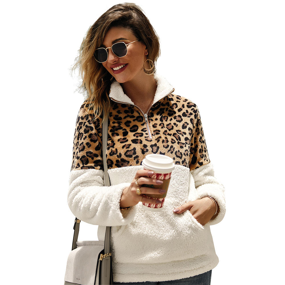 New Fashion Women Girls Leopard Matching Fluffy Pockets Zipper Turn-down Collar Long Sleeve Casual Pullover Fleeces Hoodie