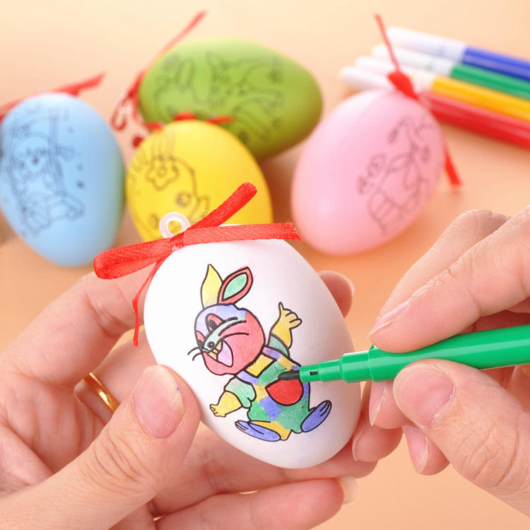 QY Handmade Cartoon Painted Painted Eggshell Toys Kids' Educational Crafts Handmade DIY Easter Eggs