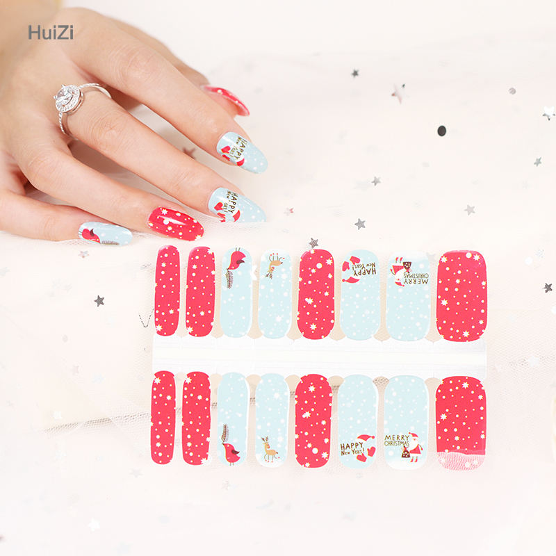 Happy Christmas Mooie Ontwerp 100% Nagellak Strips Nail Warps Nail Art Decoratie Sticker