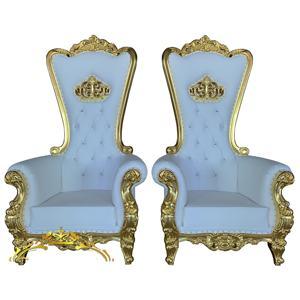 luxury royal cheap throne chair gold wedding chair for bride and groom