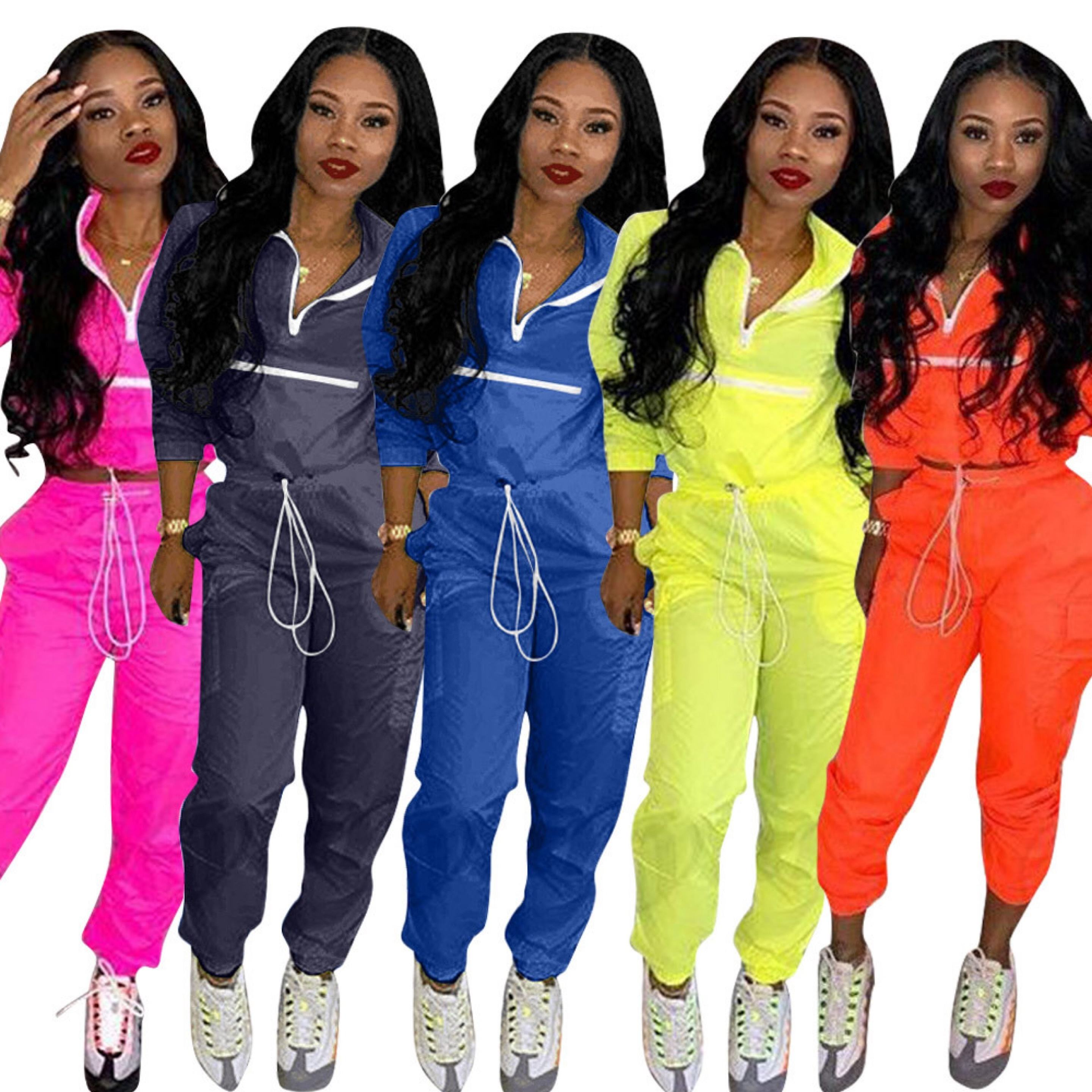 New European fashion casual zipper stitching set Sportswear women clothing lady