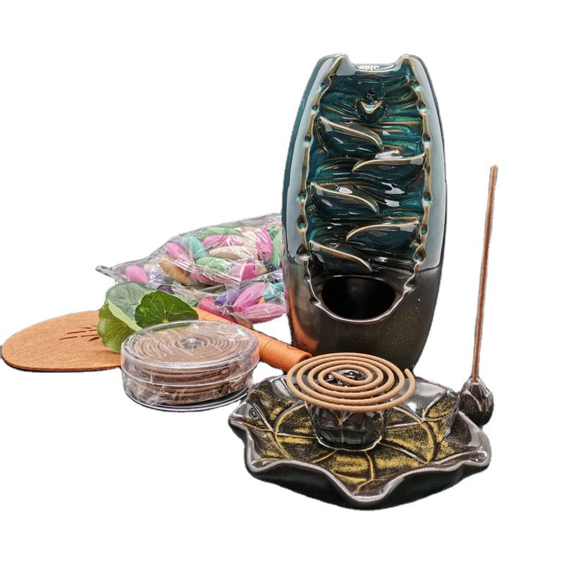 marketing promotional gift set luxury business gift executive corporate healthy life yoga room custom backflow incense burner