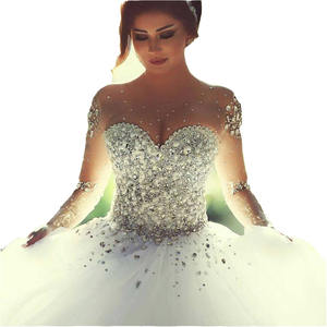 Sayang Pedreria untuk Vestidos De Novia Panjang Aleeved Renda Diamond Wedding Dress 2019
