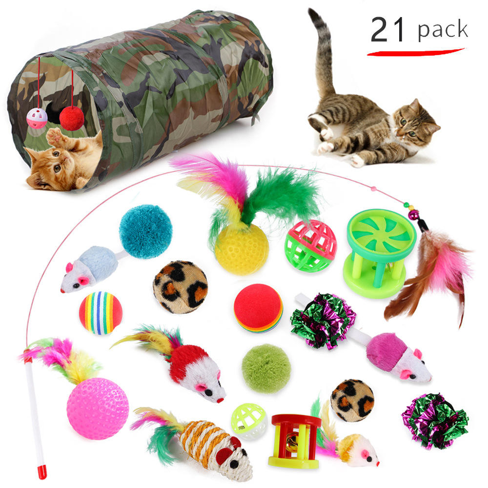 21PCS Pet Supplies Toy Set Variety Pack Cats Funny Mouse Catnip Sisal Balls Gift Value Feather Sets For Small Cat