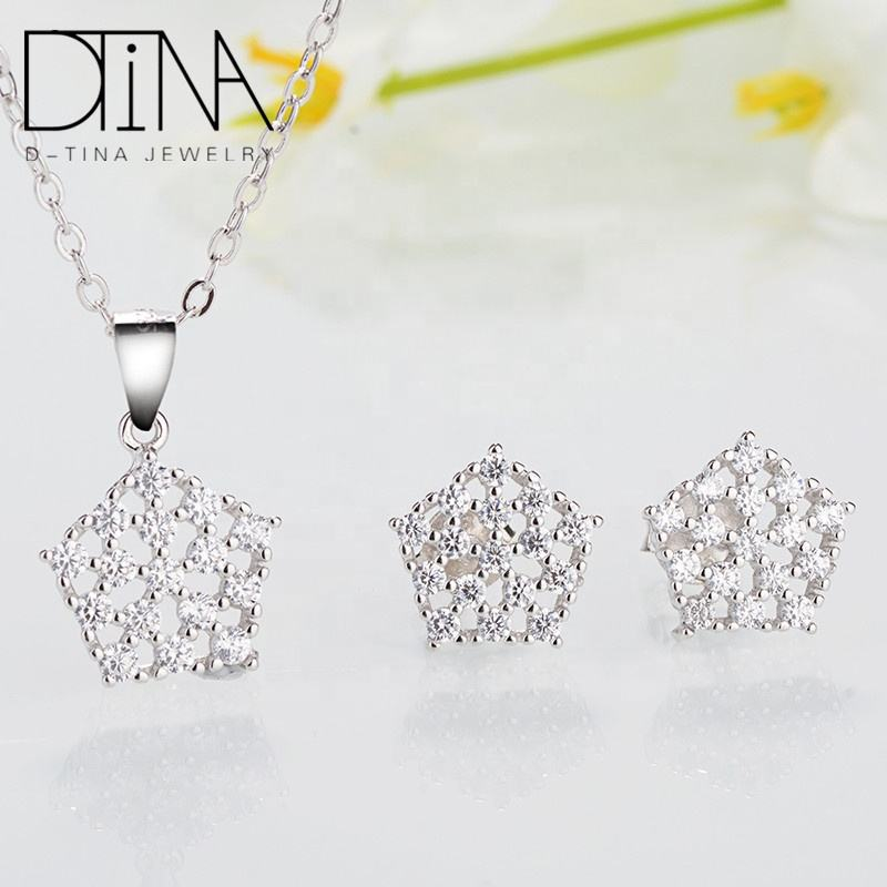 DTINA Luxury 925 sterling silver jewelry dubai white gold plated zircon jewelry set