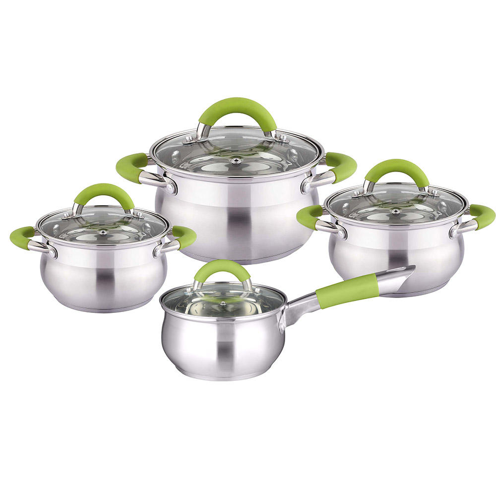 Glass cover Stainless steel Silica gel handle cookware sets in cooking hot pot silicon kitchen casserole pan set