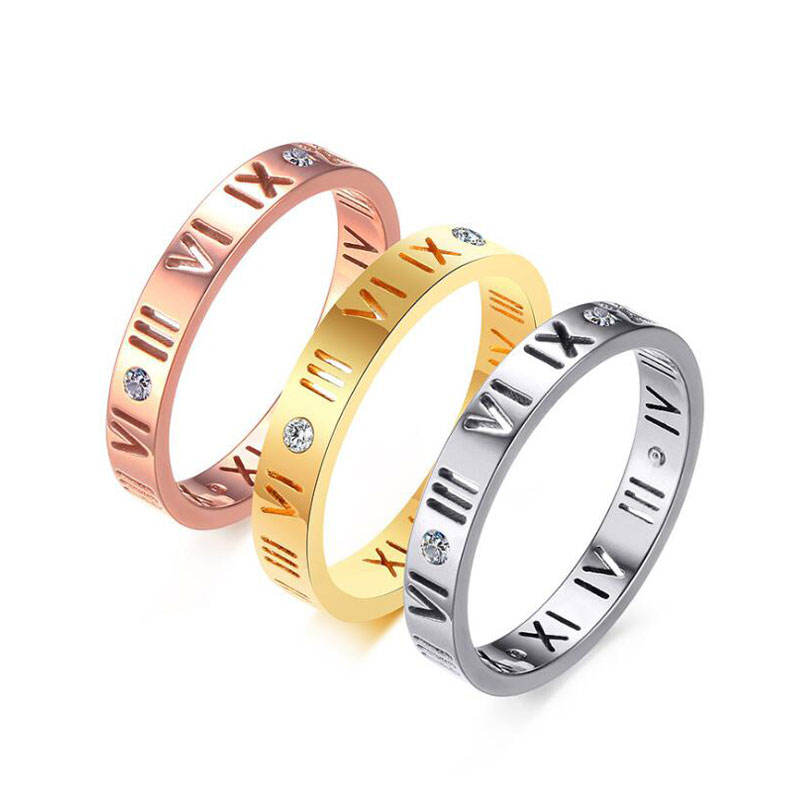 Factory direct sale amazon jewelry 3MM stainless steel hollowed out Roman digital fashion simple ring hollowed out ring