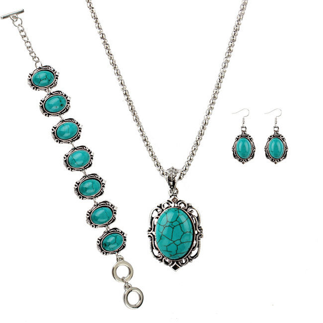 GL1299 Vintage Oval jewelry set Turquoise stone necklace earrings and bracelet set Zinc alloy jewelry set