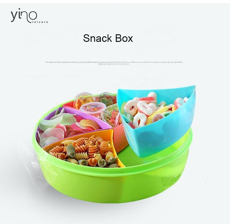 Ready to Ship Popular Household Plastic Rotating Candy Storage Box, Custom Creative Shape Nuts Snack Tray Flower Snack Box