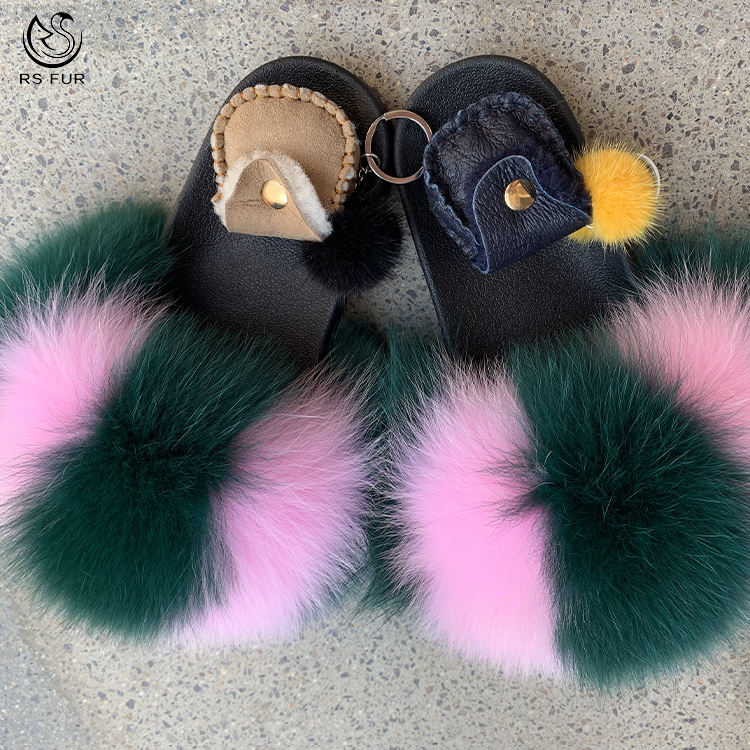 Cheap high quality girls fashion mixed-color fox fur slides slippers for sale