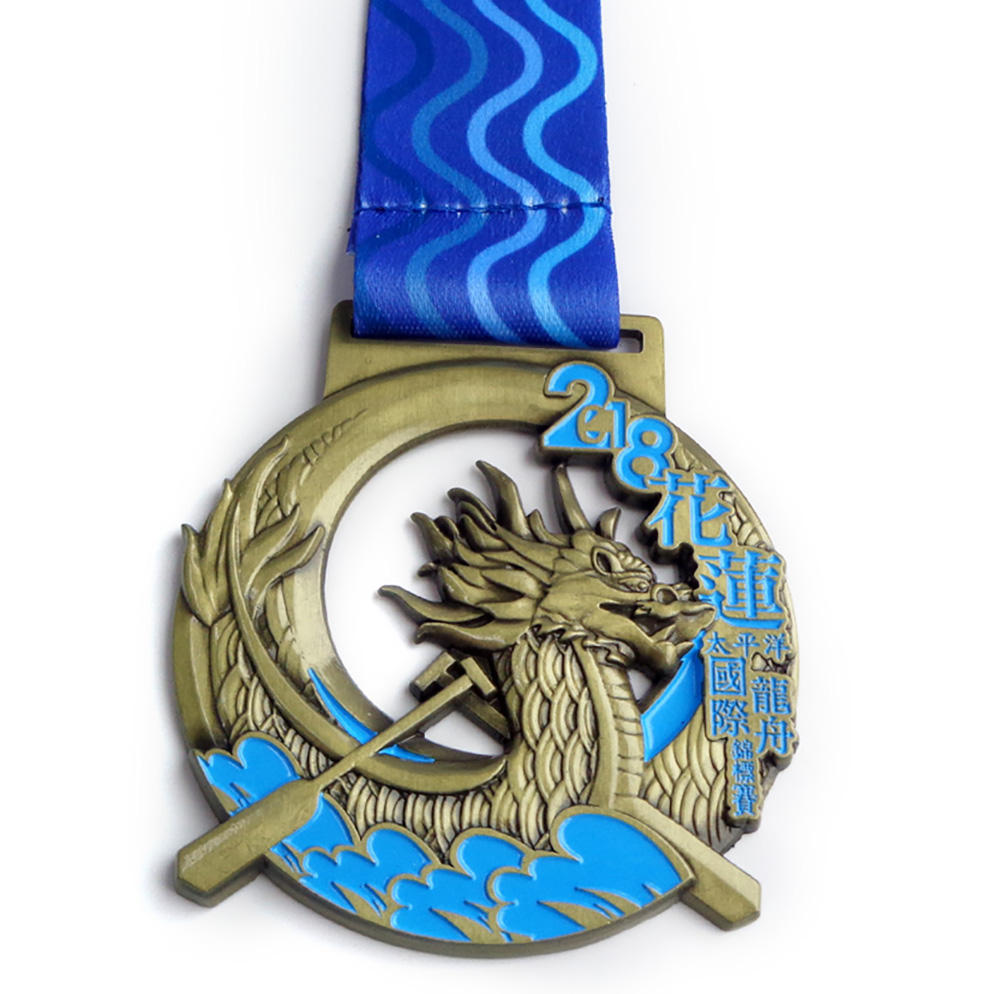Fabrikant Casting Big Size Medaille Dragon Boat Race Herdenkingsmunt Medailles Sport