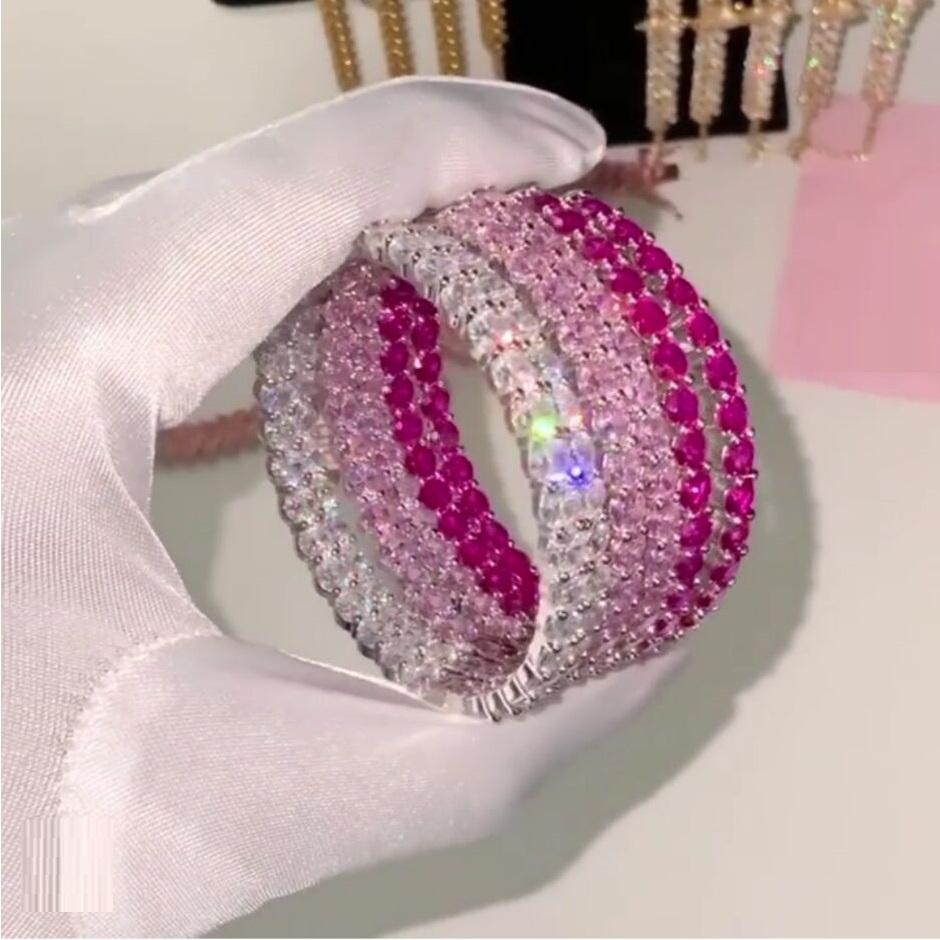 "white pink red cubic zirconia 2.35"" 60mm big cz huggie hoop earring iced out pinky women jewelry"
