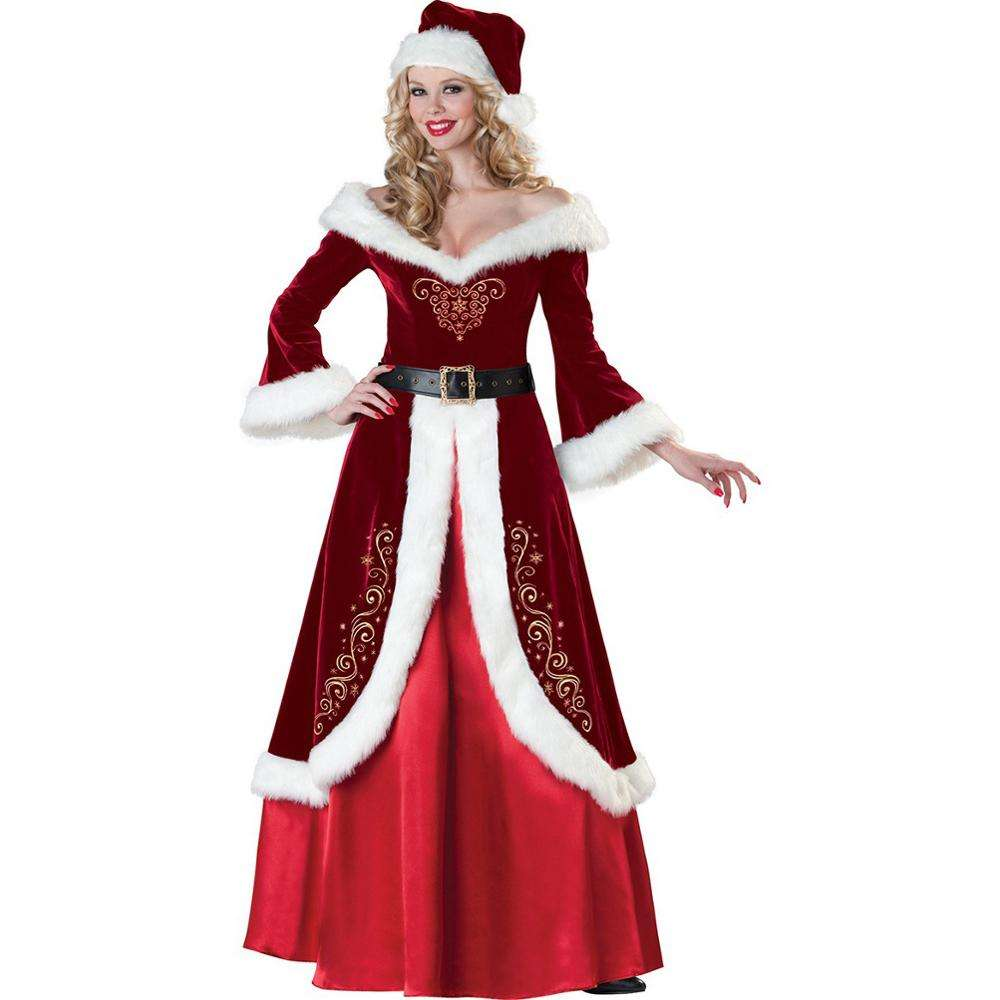 Good Quality Women Fancy Santa Claus Long Stage Costume in Christmas Holiday