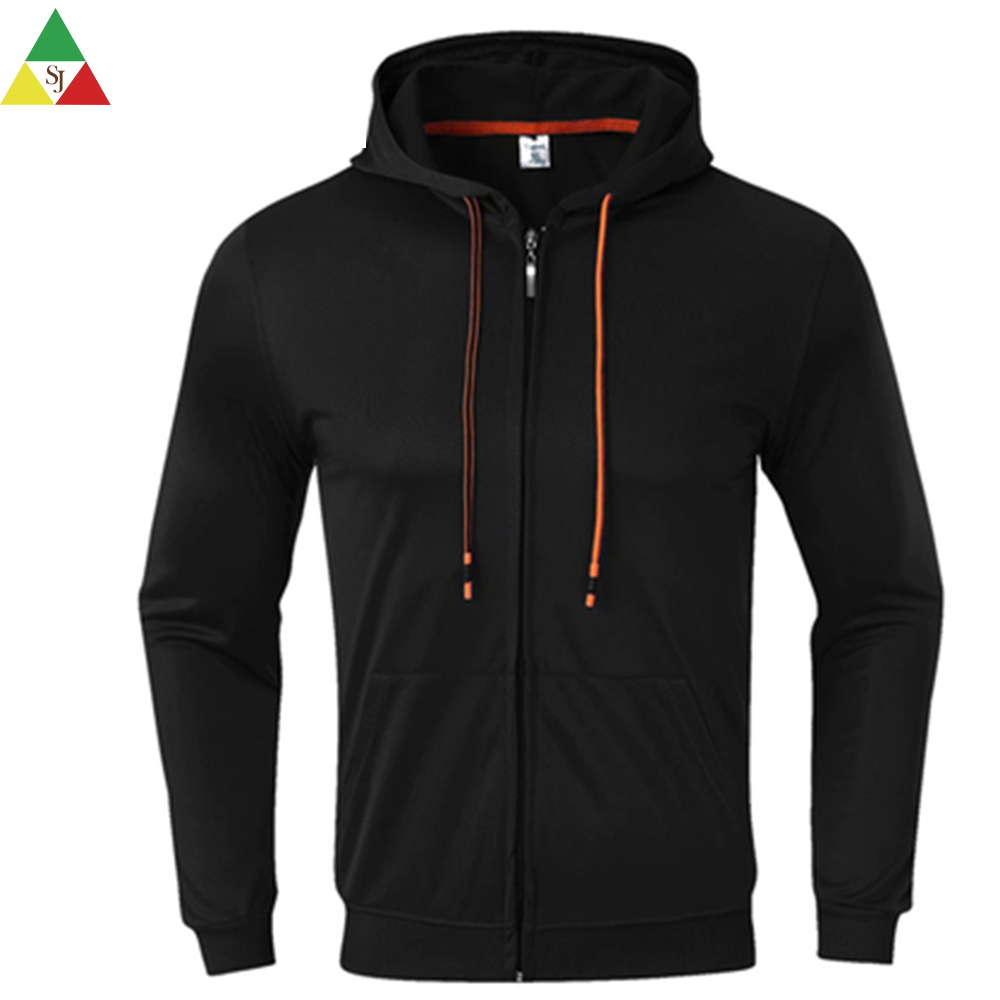 men 100 cotton hoodie zipper long black