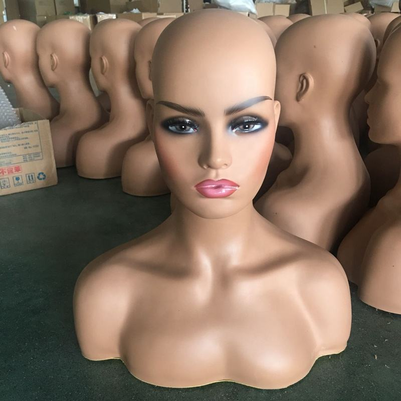 Female Black Makeup Realistic Wig Display Bust Mannequin Head with Shoulders for Wigs