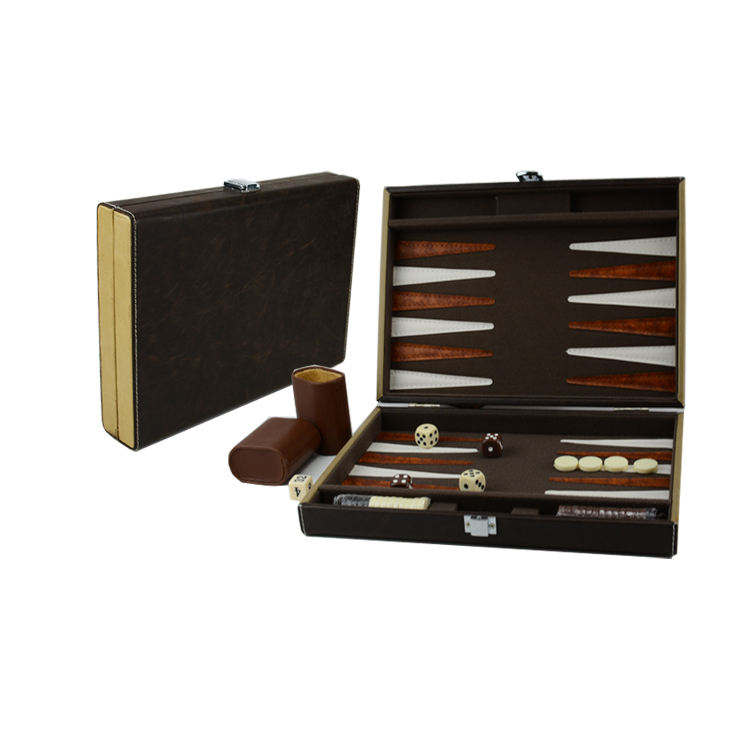 Hot Koop Luxe Leather Geschenken Backgammon <span class=keywords><strong>Checkers</strong></span> Game Set International Backgammon