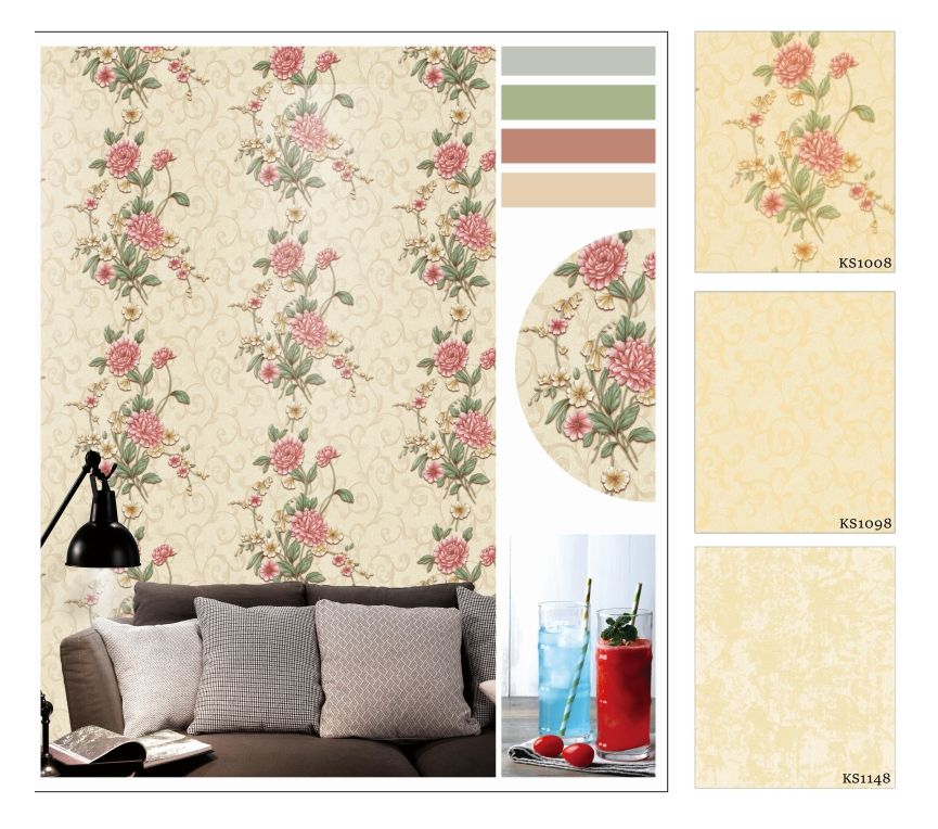 Multi-style flower Designs colorful 3d pvc home wallpaper 3d wallpapers wall coating