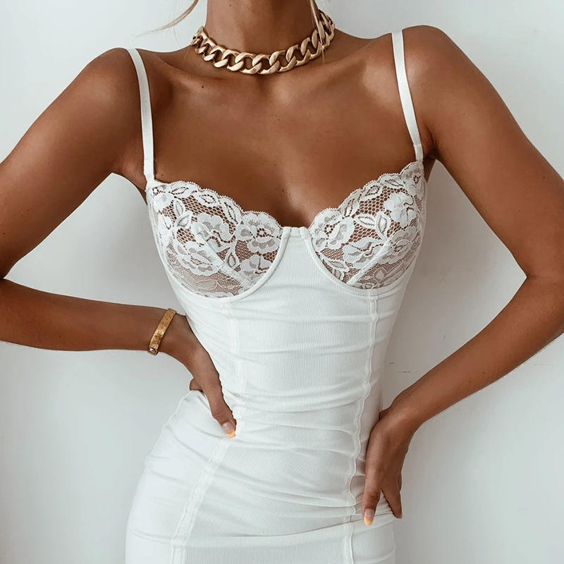 Summer Dresses Women Lady Sexy Sling Low-Cut Open Back Lace Slim Solid Color Bag Hip Mini Bodycon T Shirt Dress Women