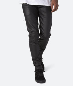 Wholesale Custom Black Sexy Tight Leather Men Pants Slim Fit Leather Pants Men