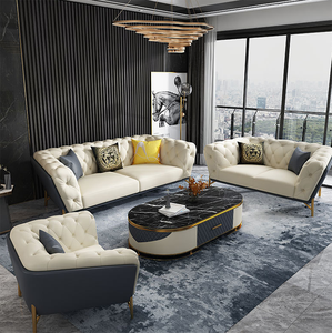 2020 Best Seller Cool Style With White And Yellow Color Fabric Upholstery  Metal Feet Sofa Set For Home Use
