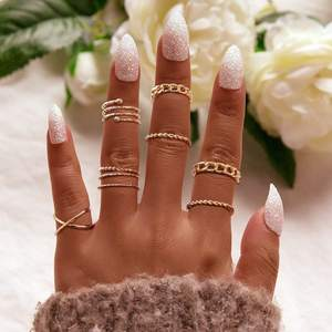KR-18 Initial Vintage Simple Criss Cross Lady Rings Jewelry Women 8pcs Alloy Ring Set